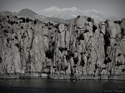 Watson Lake Photos - Black and White Snow Covered Peaks by Aaron Burrows