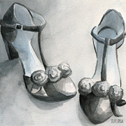 Fashion Prints - Black and White T Strap Shoe Painting Print by Beverly Brown Prints