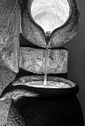 Pour Posters - Black and White Water Pouring Forth From Large Stone Pots Poster by Valerie Garner