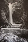 Waterfall Drawings Prints - Black and White Waterfall Print by Svetlana Rudakovskaya