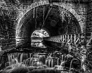 Tim Buisman Metal Prints - Black And White Waterfall Metal Print by Tim Buisman
