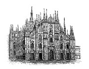 Pen And Ink Drawing Prints - Black and White with Pen and Ink drawing of Milan Cathedral  Print by Mario  Perez