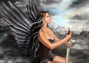 Black Angel  Print by Alena Lazareva