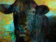Animal Mixed Media Metal Prints - Black Angus Metal Print by Ann Powell