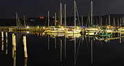 Sailboats Docked Art - Black as Night by Robert Harmon