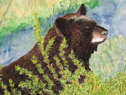 Watercolor Pastels Originals - Black Bear At Yellowstone by Patricia Beebe