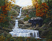 Bears Paintings - Black Bear Falls by Crista Forest