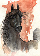 Drawing Painting Originals - Black beauty arabian horse ink and watercolor painting 2013 11 15 by Angel  Tarantella