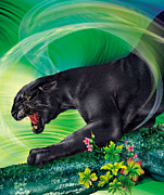 Wild Cat Poster Posters - Black Beauty Poster by Ingrid Magalinska