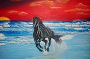 Spanish Horses Paintings - Black Beauty on The Beach by Manuel Sanchez