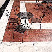 Al Fresco Posters - Black Cafe Table and Chairs on Marble and Brick Poster by Brooke Ryan