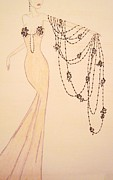 Gala Gown Drawings Framed Prints - Black Cascade Framed Print by Christine Corretti