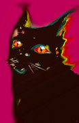 Modern Art Digital Art - Black Cat 4 by Marcello Cicchini