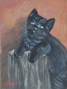 Kitten Pastels - Black Cat - Blue Eyes by Janet Bishop