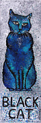 Feline Cat Art Paintings - Black Cat Blue by Michelle Boudreaux