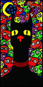 Cat And Moon Paintings - Black Cat Boneyard by Destiny Surreal