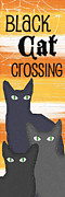 Navy Mixed Media Prints - Black Cat Crossing Print by Linda Woods