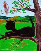 Red Cat Wine Prints - Black Cat Is Sleeping With His Bird Friend Print by Atelier De  Jiel