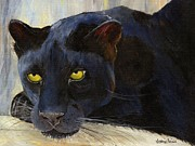 Leopards Paintings - Black Cat by Jamie Frier