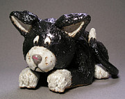 Cartoon Ceramics - Black Cat by Jeanette K