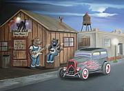 Hot Rod Flames Posters - Black Cat Juke Joint Poster by Stuart Swartz