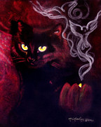 Magic Pastels Posters - Black Cat Magic Poster by Michaeline McDonald