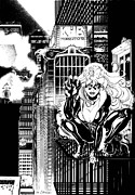 Felicia Posters - Black Cat on Fire Escape Poster by Ken Branch