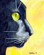 Dottie Prints - Black Cat Profile on Gold Print by Dottie Dracos