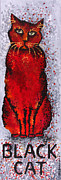 Feline Cat Art Paintings - Black Cat Red by Michelle Boudreaux