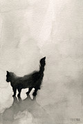 Black And White Cats Paintings - Black Cat Watercolor Painting by Beverly Brown Prints