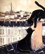 Paris Black Cats Framed Prints - Black Cat With Fis Pretty On Roofs Paris Framed Print by Atelier De  Jiel