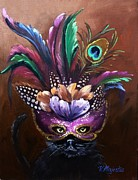 Mardi Gras Paintings - Black Cat with Venetian Mask by Viktoria K Majestic
