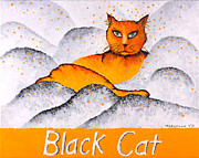 Feline Cat Art Paintings - Black Cat Yellow by Michelle Boudreaux