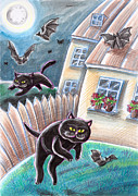 Bat Pastels Posters - Black Cats And Bats Poster by Raffaella Di Vaio