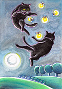 Graphics Pastels - Black Cats And Fireflies by Raffaella Di Vaio
