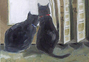 Owner Painting Framed Prints - Black Cats  Framed Print by Mary Hubley