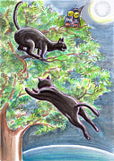 Fantasy Tree Pastels Posters - Black Cats On A Tree Poster by Raffaella Di Vaio