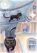 Graphics Pastels - Black Cats On The Roofs #1 by Raffaella Di Vaio