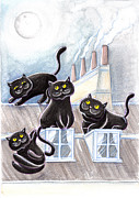 Chimneys Pastels Posters - Black Cats On The Roofs #2 Poster by Raffaella Di Vaio