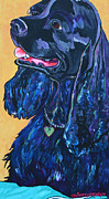 Smiling Painting Posters - Black Cocker Spaniel Poster by Patti Schermerhorn