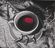 Larry Butterworth Prints - Black Coffee And Roses Print by Larry Butterworth