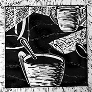 Woodcut Originals - Black Coffee  by Doreen Grace