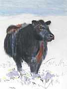 Farm Animals Drawings Posters - Black Cow Drawing Poster by Mike Jory
