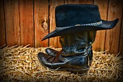 Herder Posters - Black Cowboy Hat on Black Boots Poster by Paul Ward