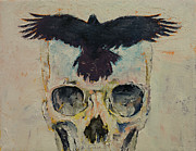 Crows Paintings - Black Crow by Michael Creese