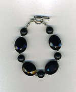 Sterling Silver Bracelet Art - Black Crystal and Onyx Bracelet-jewelry by Althea Campbell