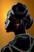 Girl Digital Art Originals - Black Diamonds and Pearls by Byron Fli Walker