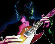 Jimmy Page Posters - Black Dog Poster by Tom Carlton