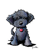 Cartoon Drawings - Black Doodle Puppy by Kim Niles