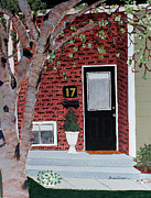 Brick Paintings - Black Door  by Barbara Griffin